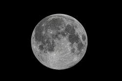 Full moon close-up, lunar photos, details.