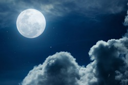 Full Moon, Full glowing moon with stars and cloud at beautiful night.