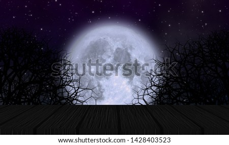 Full moon in halloween night with old wooden plate and creepy trees under starry sky. Element of this image furnished by NASA.