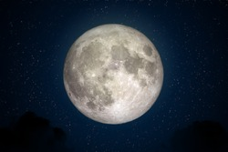 Full Moon in space with dark cloud in night sky. (Elements of this image furnished by NASA.)