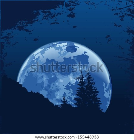 Full moon in the night sky in the mountains. Raster version. The original is also available in my gallery
