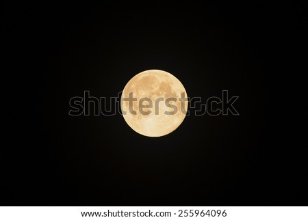 Full moon isolated on black background.