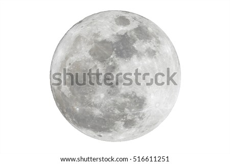 Full moon isolated over white background - Shutterstock ID 516611251
