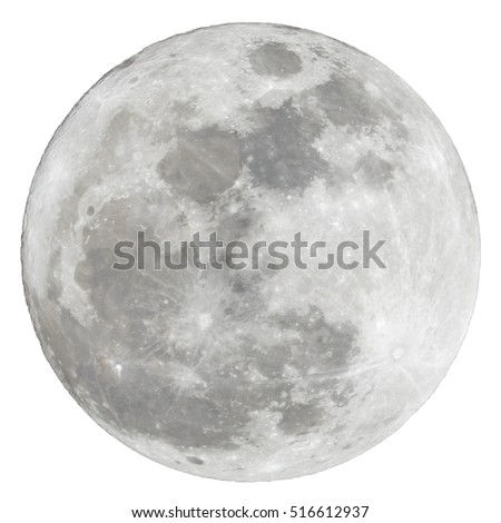 Full moon isolated over white background