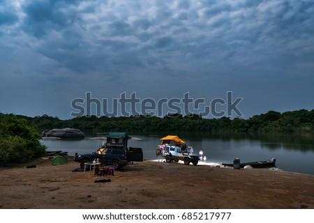 Full Moon night at Parguaza river camp, in Bolivar state, Venezuela