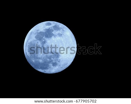 Full Moon or Super moon / The Moon is the fifth-largest natural satellite in the Solar System, and the largest among planetary satellites relative to the size of the planet that it orbits  #677905702