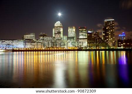 Full moon over city of London