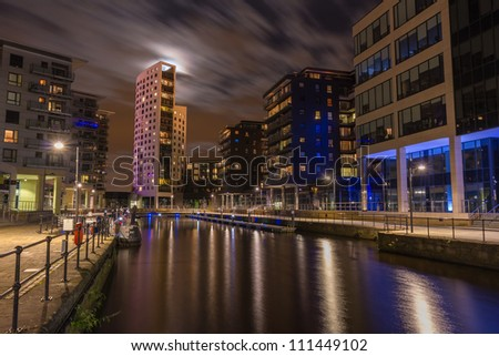 Full moon over Clarence Dock and the Royal Armouries museum in Leeds
