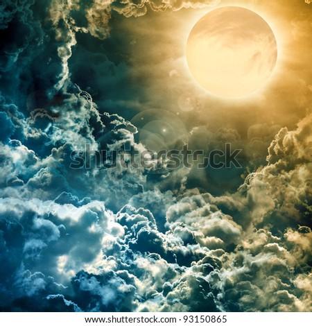 full moon over dark sky