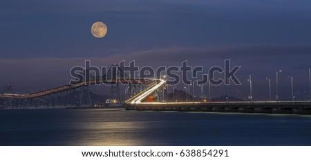 Full moon over Richmond Bridge