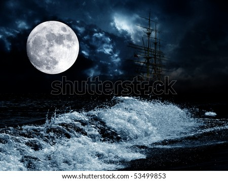 full moon over the night sea and old sailing ship