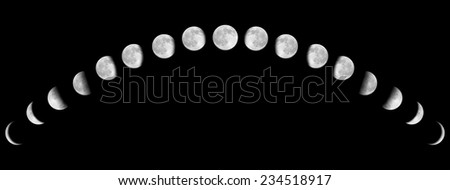 Full Moon Phases through one month. isolated on black, Moon lunar cycle in night sky, time-lapse concept, Elements of this image furnished by NASA