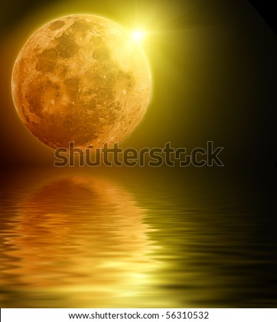 Full moon reflected in water - stock photo