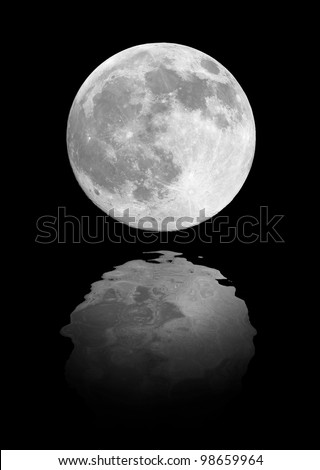 Full moon reflection on cold night water
