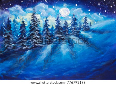 Full moon rising above winter night blue forest covered with fresh snow. Fantastic bright milky way painting illustration postcard. Majestic Moon Rise Winter Forest Art.