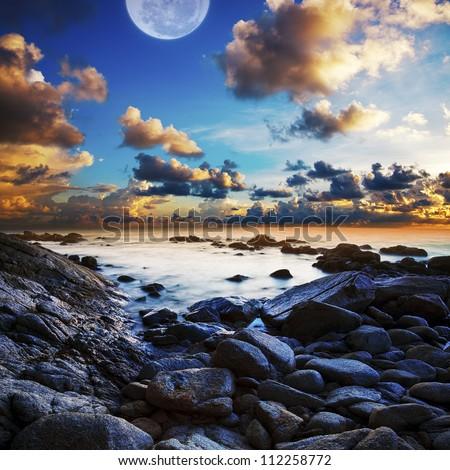 Full moon seascape. Long exposue shot, square composition.