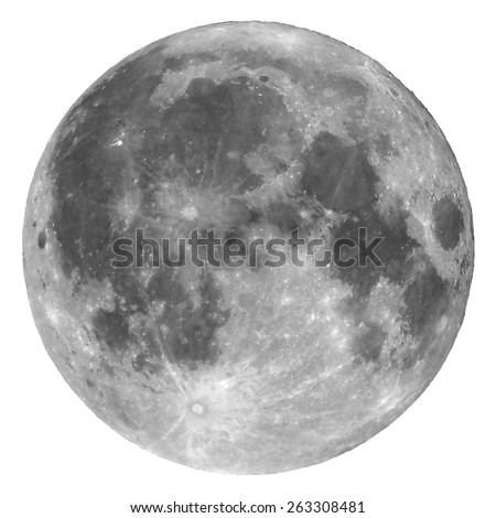 Full moon seen with a telescope from northern emisphere - Isolated over white - Shutterstock ID 263308481