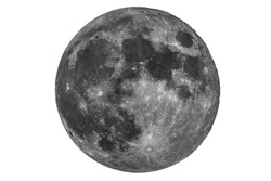 full moon seen with a telescope with white background