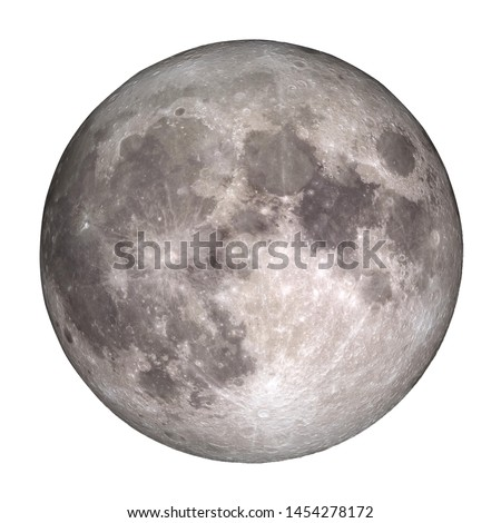 Full Moon view from space isolated on white background. (Elements of this image furnished by NASA.)