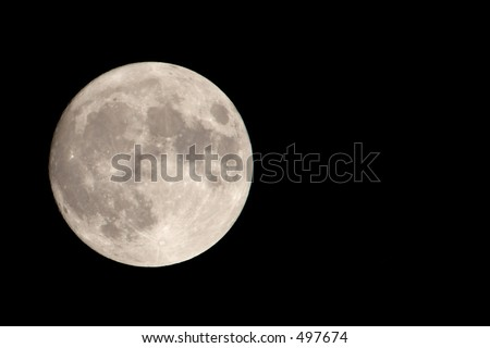 Full Moon with Negative Space - stock photo