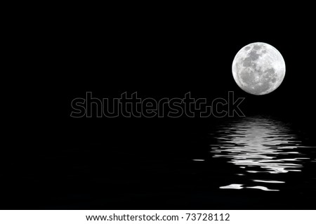 full moon with water reflection with copy space to the left