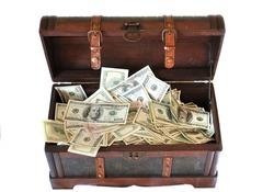 full of money wooden chest