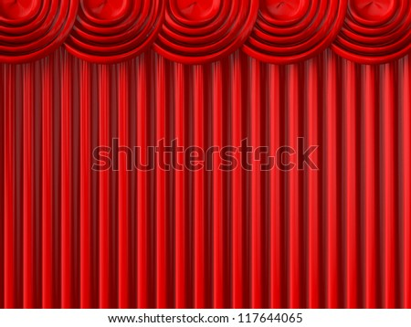 Full of red striped theatre curtains.