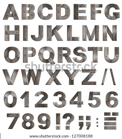 Full old metal alphabet letters, digits and punctuation marks isolated on white