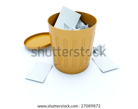 Full orange bin icon isolated on white