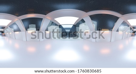 full 360 panorama space ship corridor with white futuristic design and reflections 3d rendering illustration Сток-фото ©