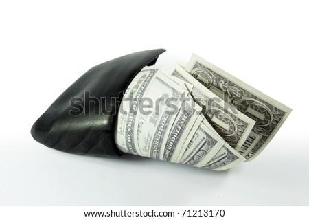 full paper money wallet rich - stock photo