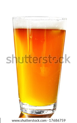 Full pint of amber beer with head, on white background