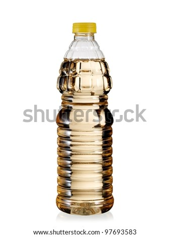 Full plastic bottle with apple vinegar