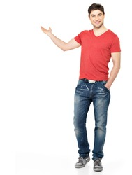 Full portrait of a smiling man shows  something on palm  isolated on white background.