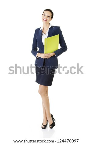 Full portrait of attractive happy businesswoman holding portfolio, isolated on white