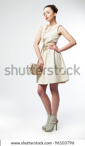 Full Portrait of Beautiful Classy Woman - Fashion sexy Mod. Series of photos. Shopping and Sales Concept