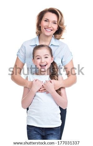 Full Portrait of happy  white mother and young daughter - isolated. Happy family people concept. - stock photo