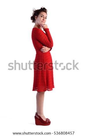 Full portrait woman in red Foto stock ©