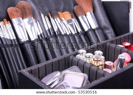 Full professional make-up case, closed-up