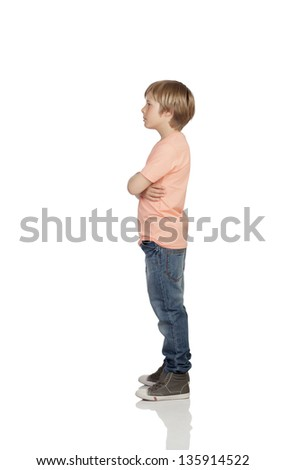 Full profile of a angry adolescent with serious gesture isolated on white background