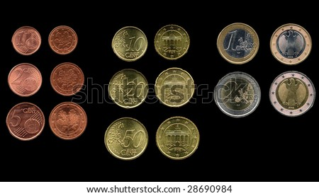 Full range of Euro coins over black background