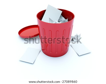 Full red bin icon isolated on white