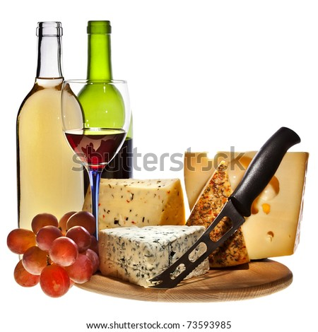 Full red wine bottles and grapes cheese isolated on white background