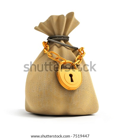 Full sack locked by gold lock on the gold chain isolated 3d model illustration