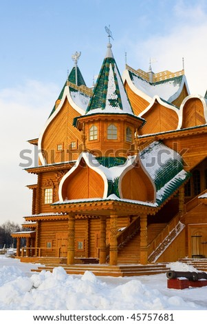 Full-scale reconstruction of wooden palace in Kolomenskoe, a former royal estate in Moscow, Russia. UNESCO world heritage site