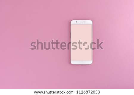 Full screen mobile phone concept on solid color background