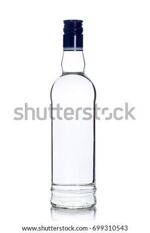 full sealed bottle of vodka on white background #699310543