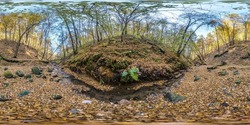 full seamless hdri 360 panorama near mountain stream in tree-covered ravine in autumn forest equirectangular spherical projection. ready VR AR virtual reality content