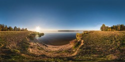 full seamless spherical cube panorama 360 degrees angle view on the shore of wide river neman in sunny summer evening sunset in equirectangular projection, ready for AR VR virtual reality content