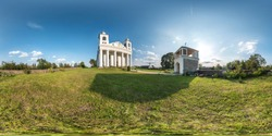 Full seamless spherical hdri panorama 360 degrees angle in small village with decorative medieval style architecture church in equirectangular spherical projection with zenith and nadir. vr content